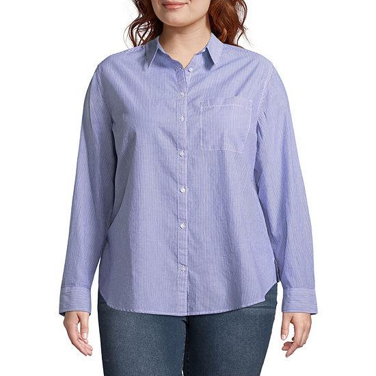 Arizona-Juniors Plus Womens Long Sleeve Loose Fit Button-Front Shirt