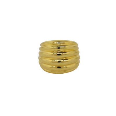 Womens 14K Gold Over Silver Dome Cocktail Ring