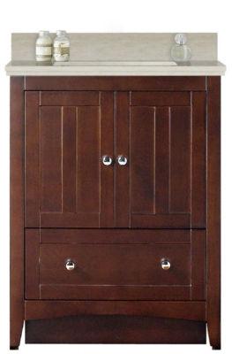 30.5-in. W Floor Mount Walnut Vanity Set For 3H8-in. Drilling Beige Top Biscuit UM Sink