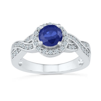 Womens 1/4 CT. T.W. Lab Created Blue Sapphire Sterling Silver Cocktail Ring