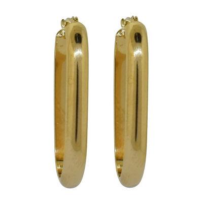 14K Gold Over Silver 29mm Oval Hoop Earrings