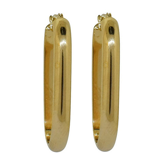14K Gold Over Silver 29mm Oval Hoop Earrings