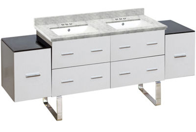74-in. W Floor Mount White Vanity Set For 3H4-in.Drilling Bianca Carara Top White UM Sink