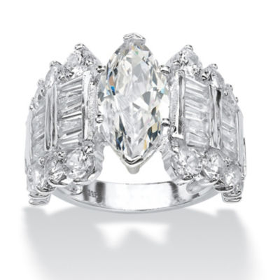 Diamonart Womens Greater Than 6 CT. T.W. Marquise White Cubic Zirconia Sterling Silver Engagement Ring