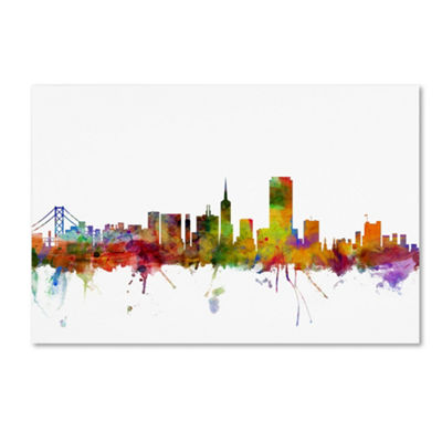 Trademark Fine Art Michael Tompsett San FranciscoCity Skyline Giclee Canvas Art