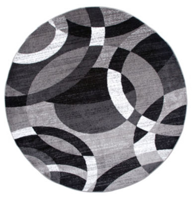 World Rug Gallery Contemporary Modern Circles Abstract Round Area Rug