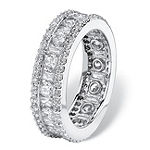 Diamonart Womens 6MM 3 1/4 CT. T.W. White Cubic Zirconia Platinum Over Silver Rectangular Band