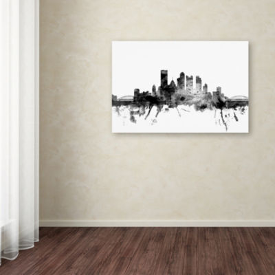 Trademark Fine Art Michael Tompsett Pittsburgh PASkyline B&W Giclee Canvas Art