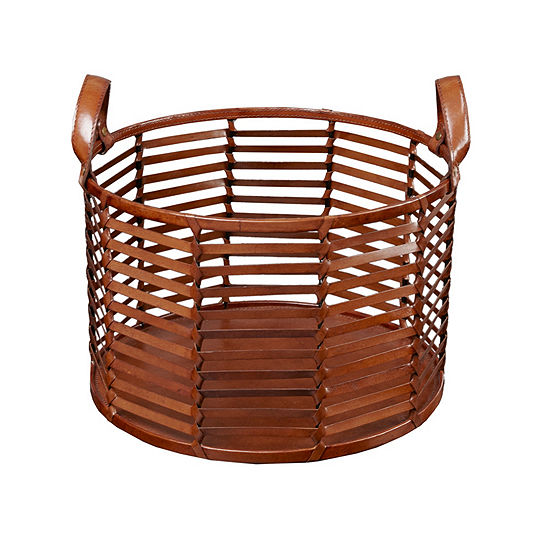 Madison Park Signature Newport Leather Stripe Basket