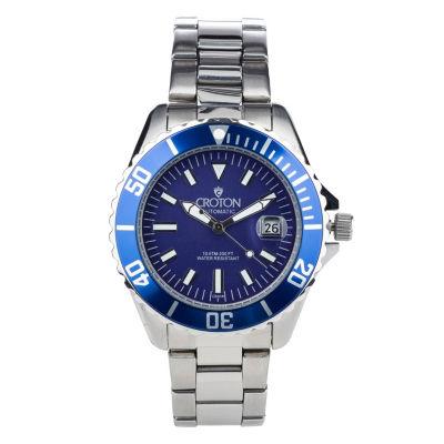 Croton N/A Mens Silver Tone Bracelet Watch-Ca301294bksl