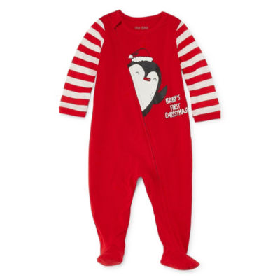 "Okie Dokie ""Baby's First Christmas"" Penguin Full Zip Sleep and Play - Baby NB-9M"