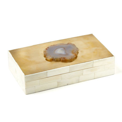 Two's Company  Genuine Agate Brass Covered Box
