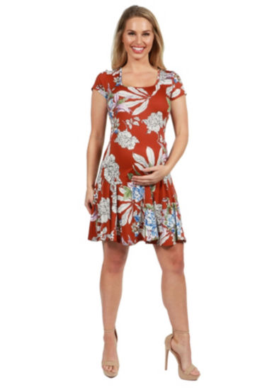 24Seven Comfort Apparel Lani Short Sleeve Maternity Dress - Plus