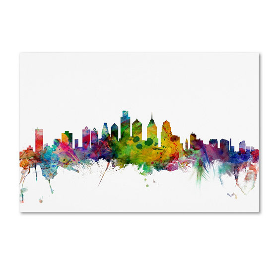 Trademark Fine Art Michael Tompsett Philadelphia Pennsylvania Skyline Giclee Canvas Art