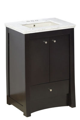 23.75-in. W Floor Mount Distressed Antique WalnutVanity Set For 3H4-in. Drilling Bianca Carara TopBiscuit UM Sink