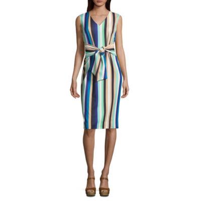 Weslee Rose Sleeveless Stripe Wrap Dress