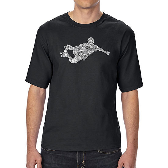 Los Angeles Pop Art Mens Tall And Long Word Art T Shirt Popular Skating Moves Tricks
