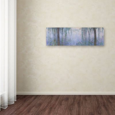 Trademark Fine Art Monet The Water Lillies Clear Morning With Willows Giclee Canvas Art