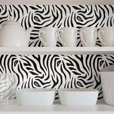 Brewster Wall Zebra Adhesive Film Set Of 2 Wall Decal