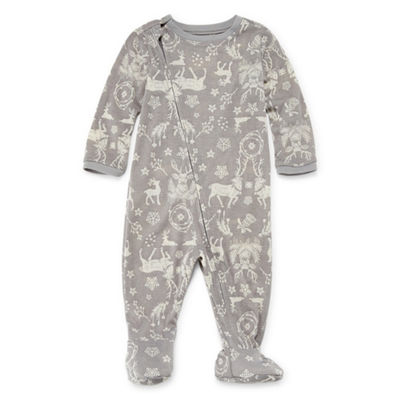 North Pole Trading Company Gray Reindeers 1 Piece Footed -Baby Unisex