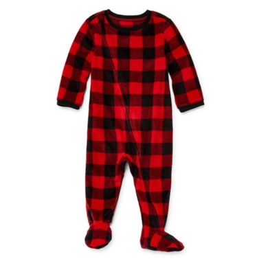 North Pole Trading Company Plaid 1 Piece Footed Pajama -Baby Unisex