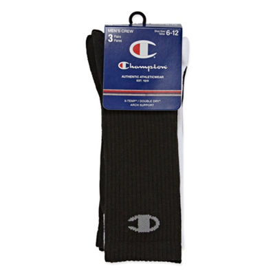 Champion 3 Pair Crew Socks-Mens