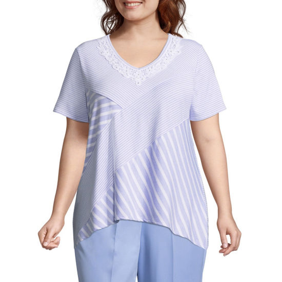 Alfred Dunner Day Dreamer Spliced Stripe Tee - Plus