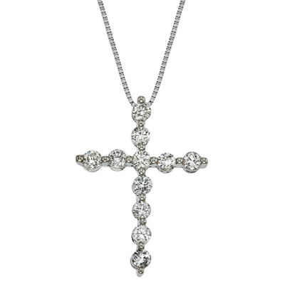 Womens 1/2 CT. T.W. Genuine White Diamond 14K White Gold Cross Pendant Necklace