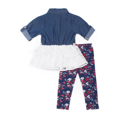 Little Lass 2-pc Denim Tulle Top Legging Set-Baby Girls