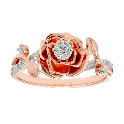 Enchanted Disney Fine Jewelry Womens 1/10 CT. T.W. Genuine White Diamond 10K Rose Gold Flower Beauty and the Beast Cocktail Ring