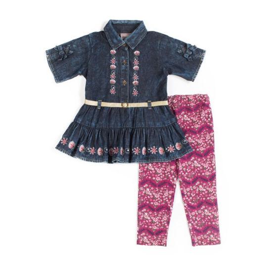 Little Lass 2-pc Denim floral Legging Set-Baby Girls