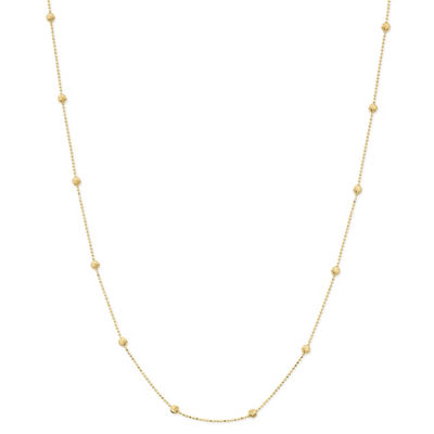 Made In Italy 24K Gold Over Silver Sterling Silver Solid Bead 18 Inch Chain Necklace
