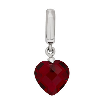PS Personal Style Simulated Ruby Sterling Silver Heart Charm