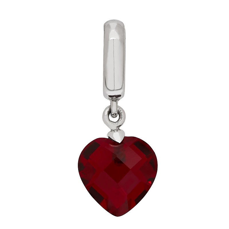 image of PS Personal Style Simulated Ruby Sterling Silver Heart Charm