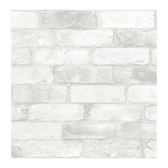 Brewster Wall Loft White Brick Peel & Stick Wallpaper Wall Decal