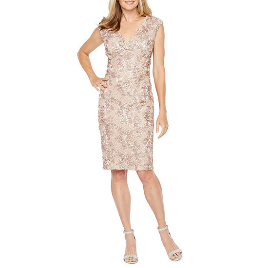 Onyx Nites Sleeveless Floral Sheath Dress