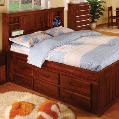 Hamilton Full 6-Drawer Bookcase Captains Bed