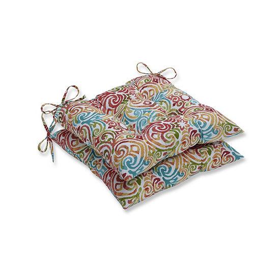 Pillow Perfect Set of 2 Corinthian Dapple Wrought Iron Patio Seat Cushion