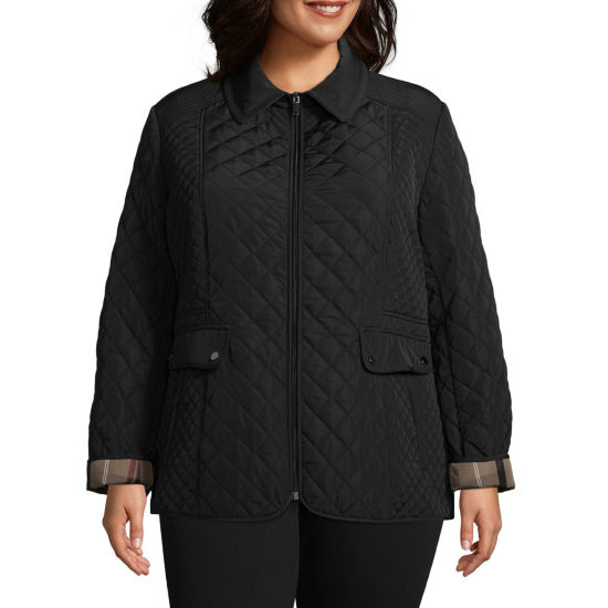Liz Claiborne Quilted Midweight Quilted Jacket-Plus