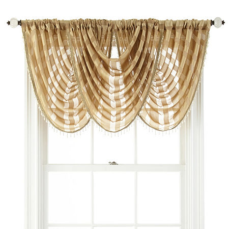 JCPenney Home Cherise Rod-Pocket Waterfall Valance, One Size , Yellow