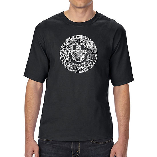 Los Angeles Pop Art Men's Tall and Long Word Art T-shirt - SMILE IN DIFFERENT LANGUAGES