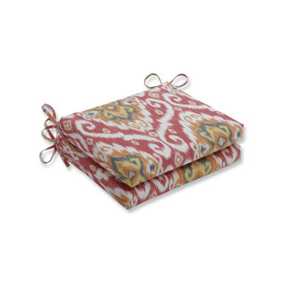 Pillow Perfect Set of 2 Ubud Coral Squared Corners Patio Seat Cushion