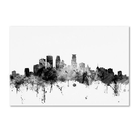 Trademark Fine Art Michael Tompsett Minneapolis Mnskyline Bw Giclee Canvas Art