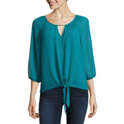 by&by Long Sleeve Keyhole Neck Woven Blouse-Juniors