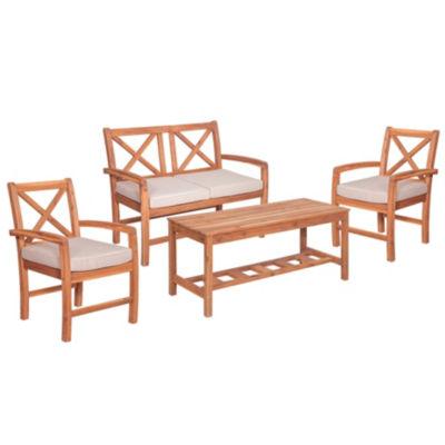 X-Back Acacia Wood 4-pc. Patio Conversation Set with Cushions