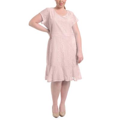 NY Collection Flounce Hem Lace Dress - Plus