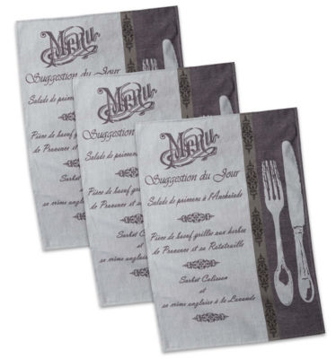 French Menu Jacquard Dishtowel Set - Set of 3