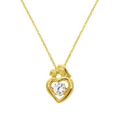 Womens Lab Created White Sapphire 14K Gold Over Silver Heart Pendant Necklace