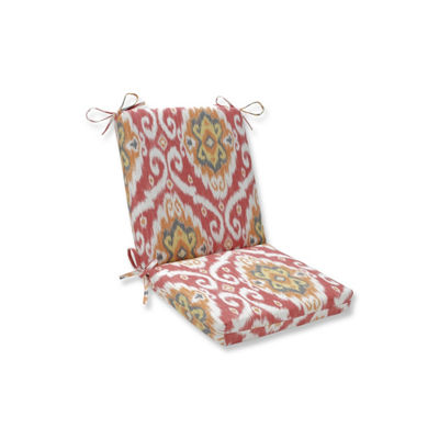 Pillow Perfect Ubud Coral Squared Corners Patio Chair Cushion