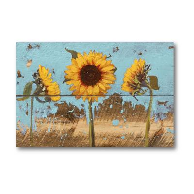 Sunflowers On Wood IV Canvas Art